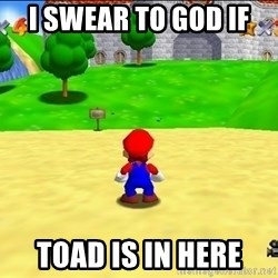 Mario looking at castle - i swear to god if  toad is in here