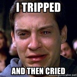 spiderman cry - I TRIPPED AND THEN CRIED