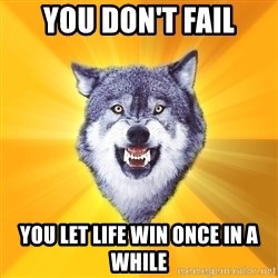 Courage Wolf - you don't fail you let life win once in a while
