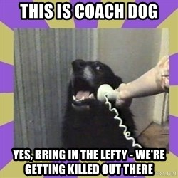 Yes, this is dog! - This is coach dog Yes, bring in the lefty - we're getting killed out there