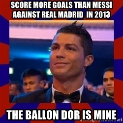 CR177 - Score more goals than Messi against Real Madrid  in 2013 The Ballon dor is mine