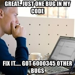Computer Programmer - great.. just one bug in my code fix it..... got 6000345 other bugs