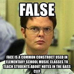 Dwight Schrute - false FACE is a common construct used in elementary school music classes to teach students about notes in the bass clef