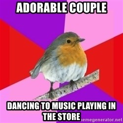 Fuzzy Robin - Adorable couple dancing to music playing in the store