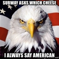 Patriotic Eagle - Subway asks which cheese I always say american