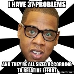 JayZ 99 Problems - i have 37 problems and they're all sized according to relative effort