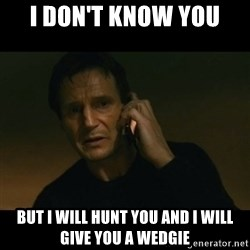 liam neeson taken - i don't know you but i will hunt you and i will give you a wedgie