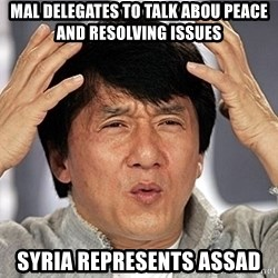 Jackie Chan - MAL delegates to talk abou peace and resolving issues syria represents assad