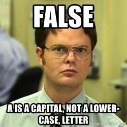 Dwight Schrute - false λ is a capital, not a lower-case, letter