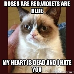 Tard the Grumpy Cat - roses are red,violets are blue my heart is dead and i hate you