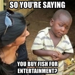 Skeptical african kid  - so you're saying you buy fish for entertainment?