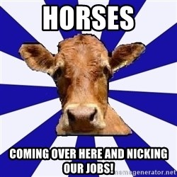 Low self esteem cow - HORSES coming over here and nicking our jobs!