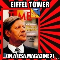 Helmut looking at top right image corner. - eiffel tower on a usa magazine?!