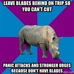 Recovery Rhino - Leave blades behind on trip so you can't cut Panic attacks and stronger urges because don't have blades