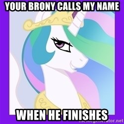 Princess Celestia  - Your BRONY CALLS MY NAME WHEN HE FINISHES