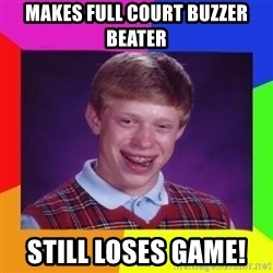 Nerd  Guy meme - Makes full court buzzer beater STILL LOSES GAME!