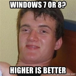 Really highguy - Windows 7 or 8? higher is better