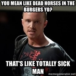 Jesse Pinkman says Bitch - You mean like dead horses in the burgers yo? that's like totally sick man