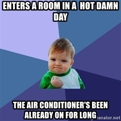 Success Kid - enters a room in a  hot damn day the air conditioner's been already on for long