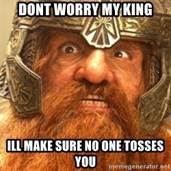 Gimli - DONT WORRY MY KING ILL MAKE SURE NO ONE TOSSES YOU