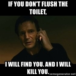 liam neeson taken - If you don't flush the toilet, I will find you. and I will kill you.