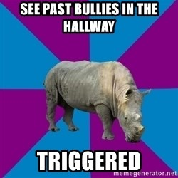 Recovery Rhino - See past bullies in the hallway Triggered