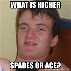 Really highguy - What is higher SPADES OR ACE?