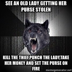 Insanity Wolf - see an old lady getting her purse stolen kill the thief,punch the lady,take her money and set the purse on fire