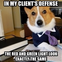 Dog Lawyer - IN MY CLIENT'S DEFENSE THE RED AND GREEN LIGHT LOOK EXACTLY THE SAME