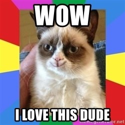 Grumpy Cat Smiling - Wow I love this dude
