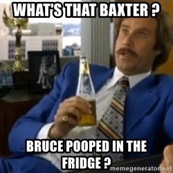 That escalated quickly-Ron Burgundy - What's that BaXter ?  Bruce pooped in the fridge ?