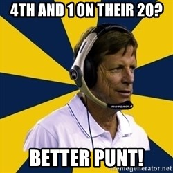 Idiot Football Coach - 4TH AND 1 ON THEIR 20? BETTER PUNT!