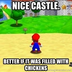 Mario looking at castle - Nice Castle. Better if it was filled with chickens