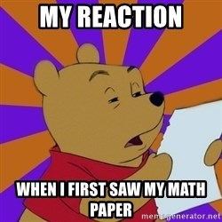 Skeptical Pooh - my reaction when i first saw my math paper