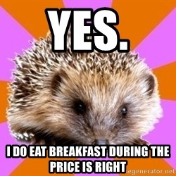 Homeschooled Hedgehog - Yes.  I do eat breakfast during the price is right