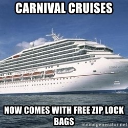 Carnival Triumph Cruise  - Carnival cruises now comes with free zip lock bags