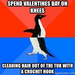 Socially Awesome Awkward Penguin - SPEND VALENTINES DAY ON KNEES CLEANING HAIR OUT OF THE TUB WITH A CROCHET HOOK