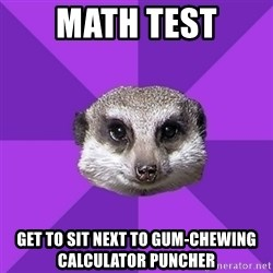 Misophonia Meerkat - Math test get to sit next to gum-chewing calculator puncher