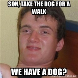 Really highguy - son, take the dog for a walk we have a dog?