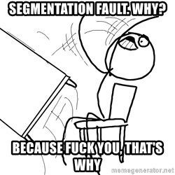 Desk Flip Rage Guy - Segmentation fault. why? because fuck you, that's why