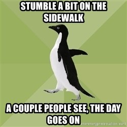 Socially Average Penguin - Stumble a bit on the sidewalk a couple people see, the day goes on