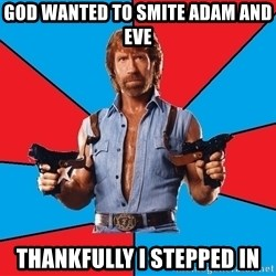 Chuck Norris  - God wanted to smite Adam and Eve Thankfully I stepped in