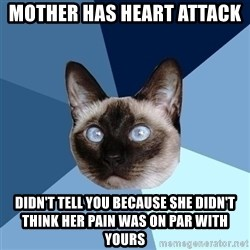 Chronic Illness Cat - mother has heart attack  didn't tell you because she didn't think her pain was on par with yours