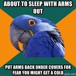 Paranoid Parrot - about to sleep with arms out  put arms back under covers for fear you might get a cold