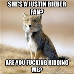 Disappointed Tibetan Fox - she's a justin bieber fan? are you fucking kidding me?