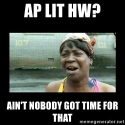 Nobody ain´t got time for that - AP Lit hw? Ain't nobody got time for that