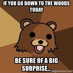 Pedobear - If you go down to the woods today be sure of a big surprise...