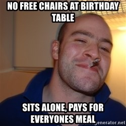 Good Guy Greg - no free chairs at birthday table sits alone, pays for everyones meal
