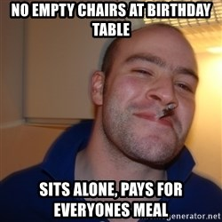 Good Guy Greg - no empty chairs at birthday table sits alone, pays for everyones meal