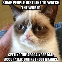 Grumpy Cat  - some people just like to watch the world getting the apocalypse date accurately, unlike those mayans.